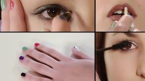Maquillaje, collage almacen de metraje de vídeo