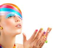 Maquillaje colorido de la moda Fotografía de archivo libre de regalías