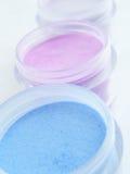 Maquillaje cosmético en colores pastel Fotos de archivo