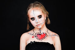 Maquillaje de Halloween con el corazón rojo Fotografía de archivo