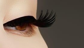 Maquillaje de la cara de la belleza la mujer con el palillo Extensiones de las pestañas Perfecto haga fotografía de archivo