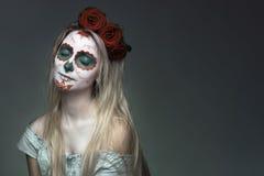 Maquillaje de la cara del cráneo Fotos de archivo libres de regalías