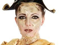 Maquillaje de la cara del oro Foto de archivo libre de regalías
