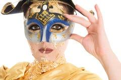 Maquillaje de la cara del oro Fotografía de archivo libre de regalías