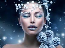 Maquillaje de la muchacha de la Navidad Imagenes de archivo
