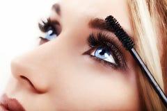 Maquillaje de la mujer que aplica el primer eyeliner Imágenes de archivo libres de regalías