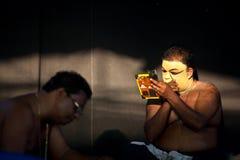 Maquillaje de los agentes de Kathakali Fotos de archivo libres de regalías