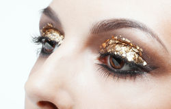 Maquillaje de oro del ojo Imagenes de archivo