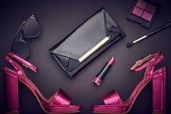 Maquillaje del cosmético de la moda Accesorios de la mujer del diseño Fotos de archivo libres de regalías