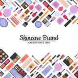 Maquillaje del estilo del vector y fondo planos del skincare ilustración del vector