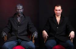 Maquillaje del monstruo - antes y después foto de archivo libre de regalías