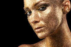 Maquillaje del oro Fotografía de archivo