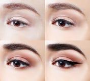 Maquillaje en ojo paso a paso Tiro del primer Imagen de archivo libre de regalías
