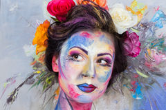 Maquillaje floral imagenes de archivo