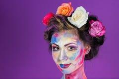 Maquillaje floral fotos de archivo