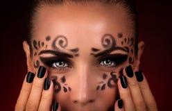 Maquillaje hermoso de Halloween imagenes de archivo