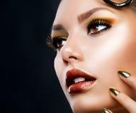 Maquillaje hermoso de la cara Foto de archivo