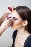 Maquillaje hermoso de la muchacha aplicado Fotografía de archivo