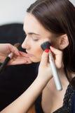 Maquillaje hermoso de la muchacha aplicado Foto de archivo