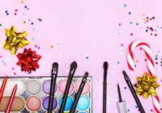 Maquillaje para el partido festivo Fotografía de archivo libre de regalías