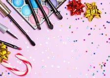 Maquillaje para el partido festivo con el espacio de la copia Imágenes de archivo libres de regalías