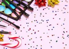 Maquillaje para la celebración de días festivos con el espacio de la copia Imagen de archivo libre de regalías
