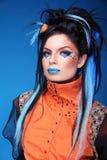 maquillaje Peinado de la roca Retrato del modelo punky hermoso joven w Imagen de archivo libre de regalías