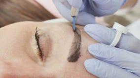 Maquillaje permanente Tatuaje permanente de cejas El Cosmetologist que aplica permanente compone en tatuaje de la ceja de las cej almacen de video