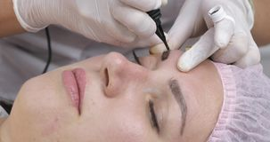 Maquillaje permanente, tatuaje de cejas La aplicaci?n del Cosmetologist compone almacen de metraje de vídeo