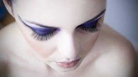 Maquillaje profesional del ojo con de largo de la pestaña de la extensión foto de archivo libre de regalías