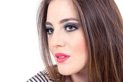 Maquillaje que lleva de la muchacha de ojos verdes hermosa Fotos de archivo libres de regalías