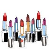 Maquillaje rojo del vector de la belleza de la moda del lápiz labial Imágenes de archivo libres de regalías