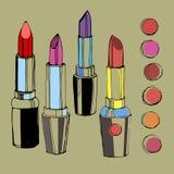 Maquillaje rojo del vector de la belleza de la moda del lápiz labial Imagen de archivo libre de regalías