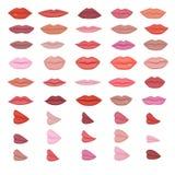 Maquillaje rojo hermoso de los labios del vector del labio en sonrisa del beso o barra de labios de las muchachas de la moda y el libre illustration