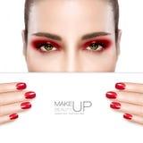 Maquillaje y clavo Art Concept de la belleza Fotografía de archivo