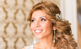 Maquillaje y peinado hermosos de la boda del retrato de la novia Fotografía de archivo libre de regalías