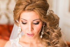 Maquillaje y peinado hermosos de la boda del retrato de la novia Imagenes de archivo