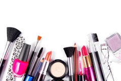 Maquillaje y sistema del cosmético de los cepillos Foto de archivo libre de regalías