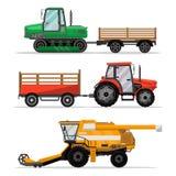 Maquinaria agrícola pesada para el trabajo en el terreno stock de ilustración