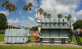 Maquinaria antiga da gestão da água na exposição em florida Fotografia de Stock Royalty Free