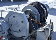 Maquinaria da âncora em um navio Fotos de Stock Royalty Free
