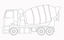 Maquinaria de construcción Mezclador concreto Páginas del colorante para los niños ilustración del vector