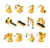 Maquinaria do robô da indústria, grupo isométrico do vetor do braço mecânico ilustração stock