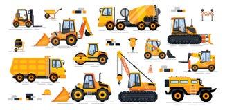 A maquinaria industrial de misturador de cimento isolou ícones ilustração stock