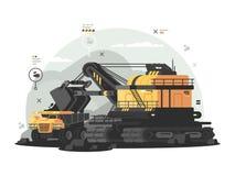 Maquinaria pesada para o extração de carvão ilustração royalty free