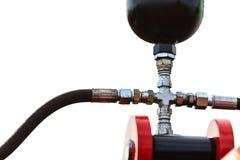 Maquinaria pneumática, hidráulica feita do close up de aço fotos de stock royalty free