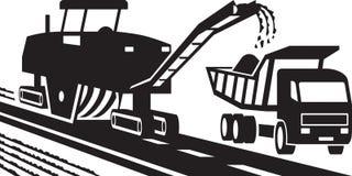 Maquinaria que muele del asfalto stock de ilustración