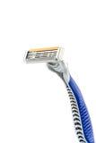 Maquinilla de afeitar azul aislada en blanco Fotografía de archivo libre de regalías