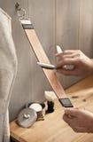 Maquinilla de afeitar recta Foto de archivo libre de regalías