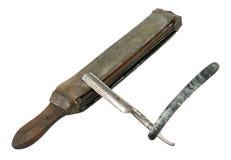 Maquinilla de afeitar recta y suavizador Fotografía de archivo libre de regalías